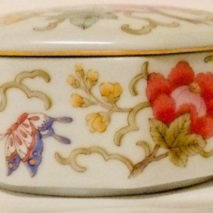 Otagiri Storage & Organization - Otagiri Butterfly Floral Trinket Box Empress Porce